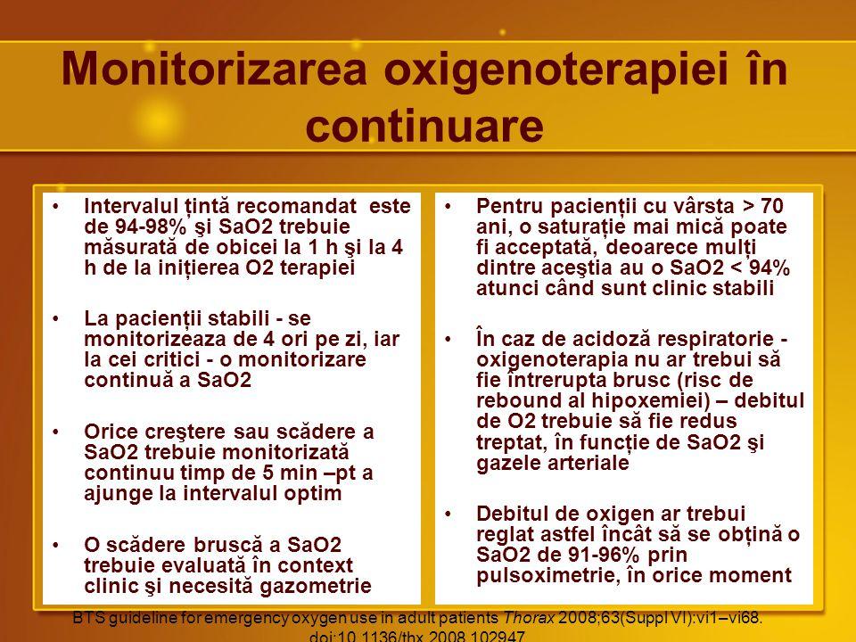 Monitorizarea oxigenoterapiei în continuare