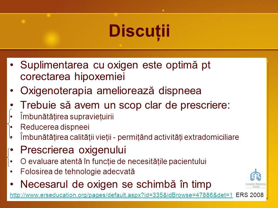Discuţii Suplimentarea cu oxigen este optimă pt corectarea hipoxemiei