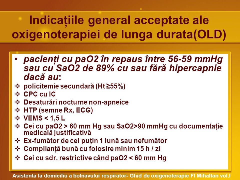 Indicaţiile general acceptate ale oxigenoterapiei de lunga durata(OLD)