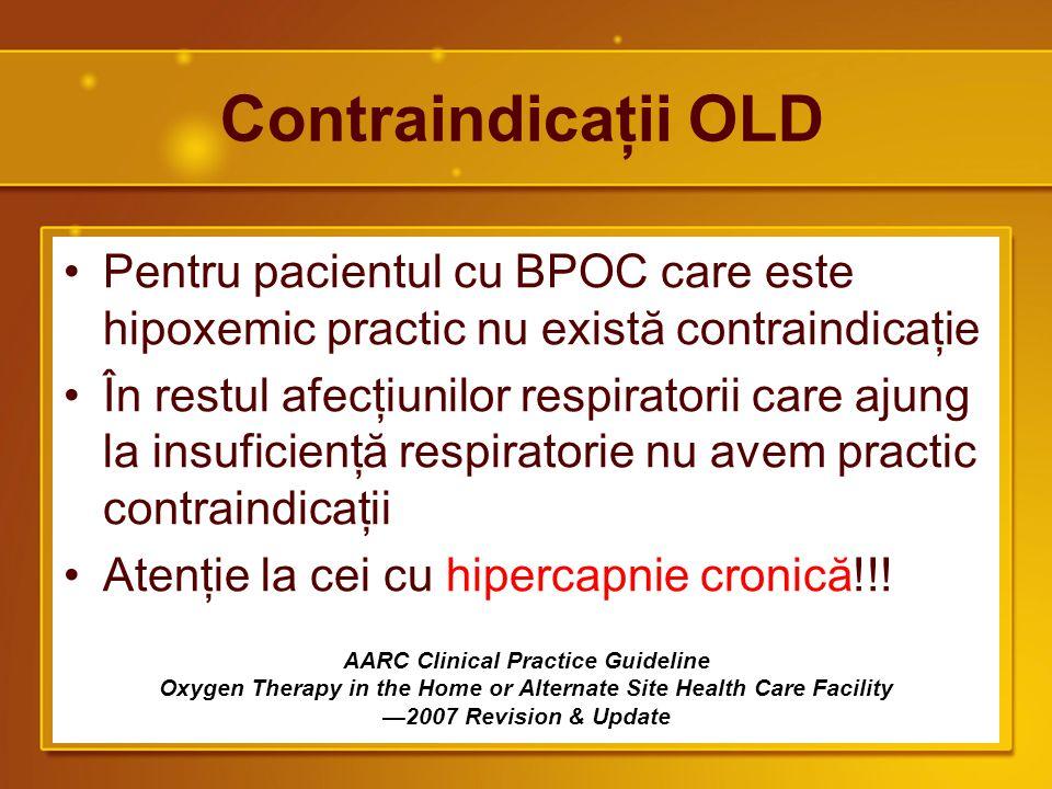 Contraindicaţii OLD Pentru pacientul cu BPOC care este hipoxemic practic nu există contraindicaţie.