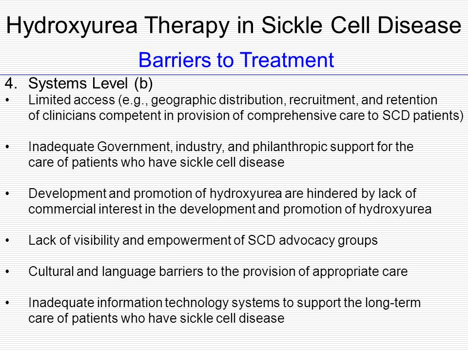 Hydroxyurea Therapy in Sickle Cell Disease
