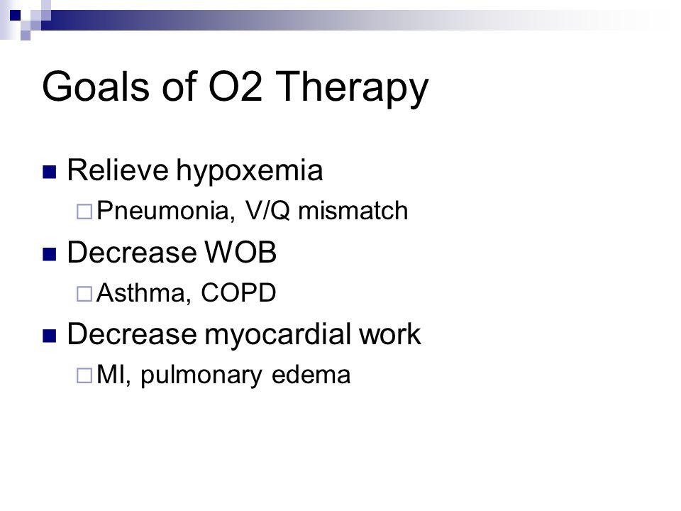 Goals of O2 Therapy Relieve hypoxemia Decrease WOB
