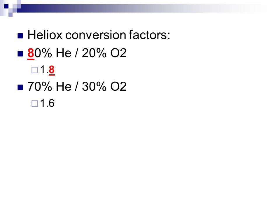 Heliox conversion factors: 80% He / 20% O2 70% He / 30% O2
