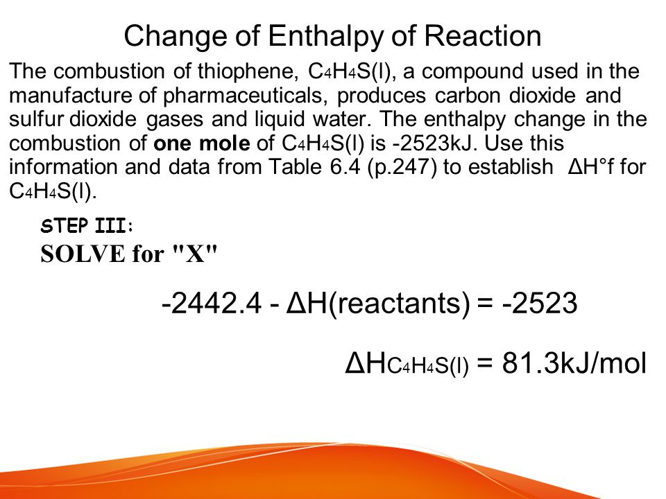 Change of Enthalpy of Reaction