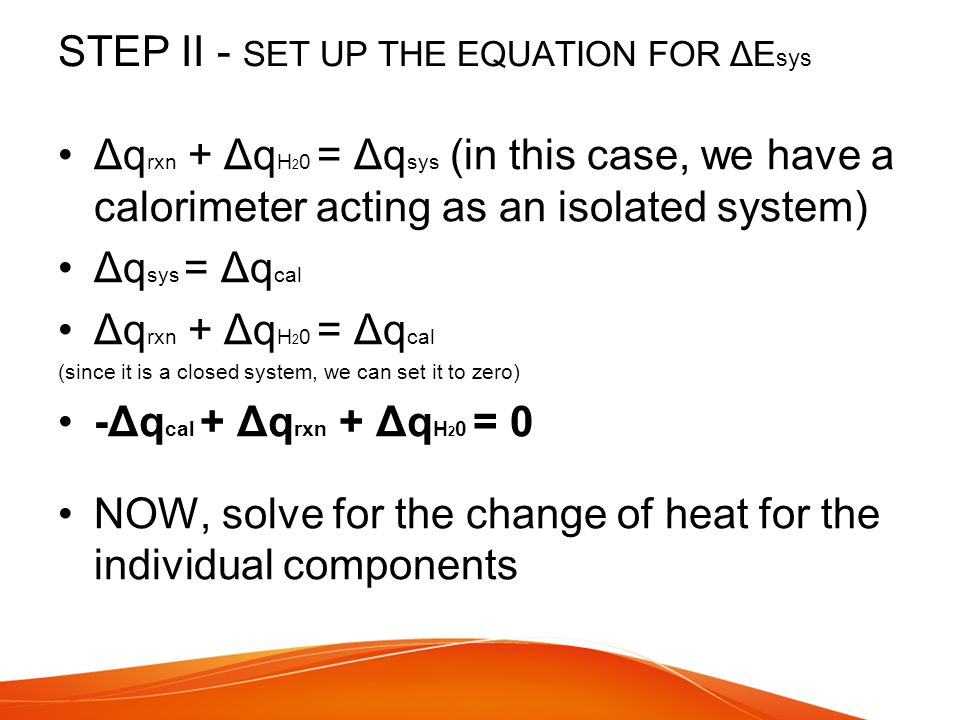 STEP II - SET UP THE EQUATION FOR ΔEsys