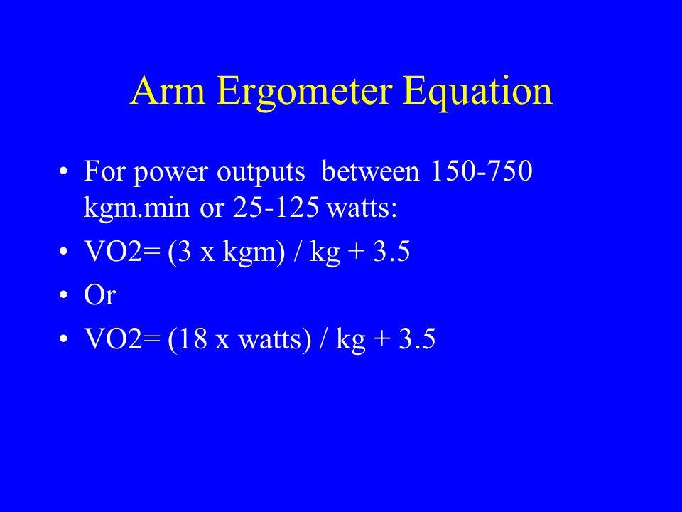 Arm Ergometer Equation