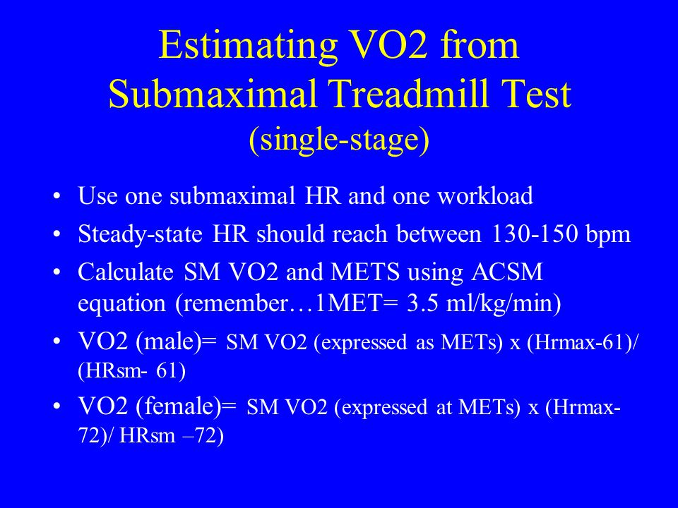 Estimating VO2 from Submaximal Treadmill Test (single-stage)