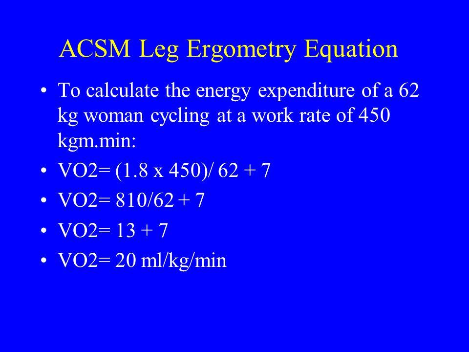 ACSM Leg Ergometry Equation