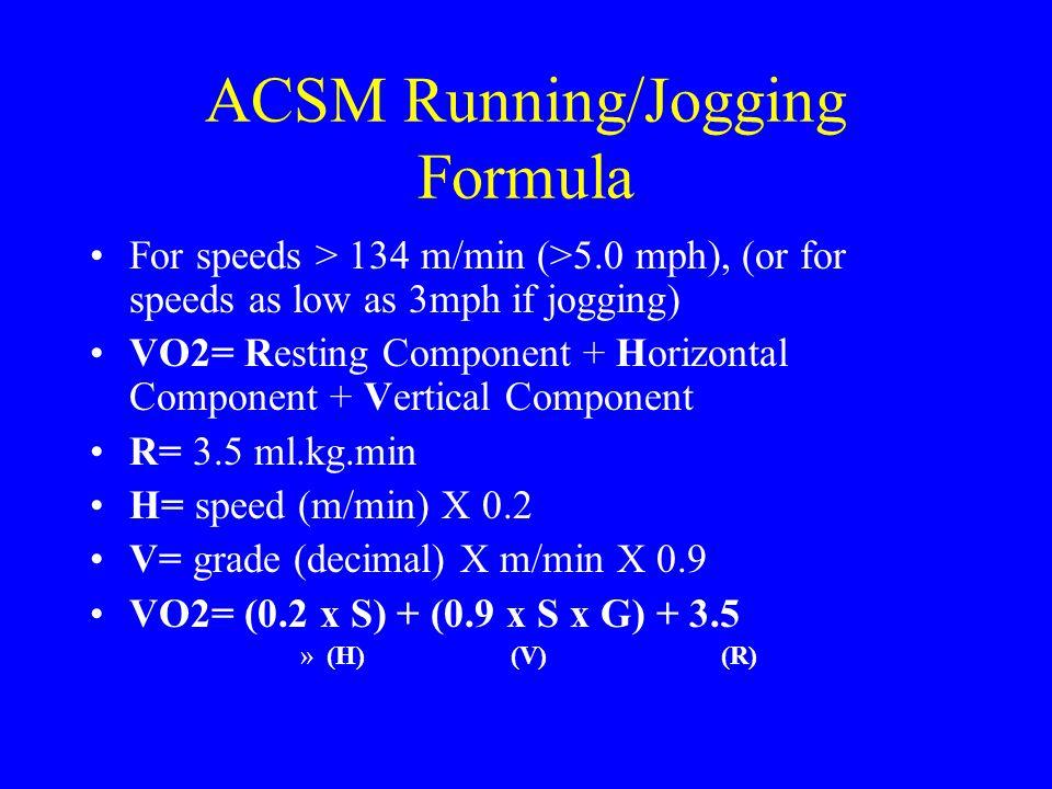 ACSM Running/Jogging Formula