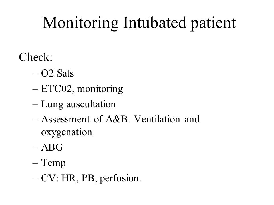 Monitoring Intubated patient