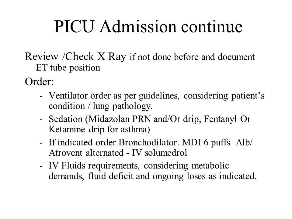 PICU Admission continue