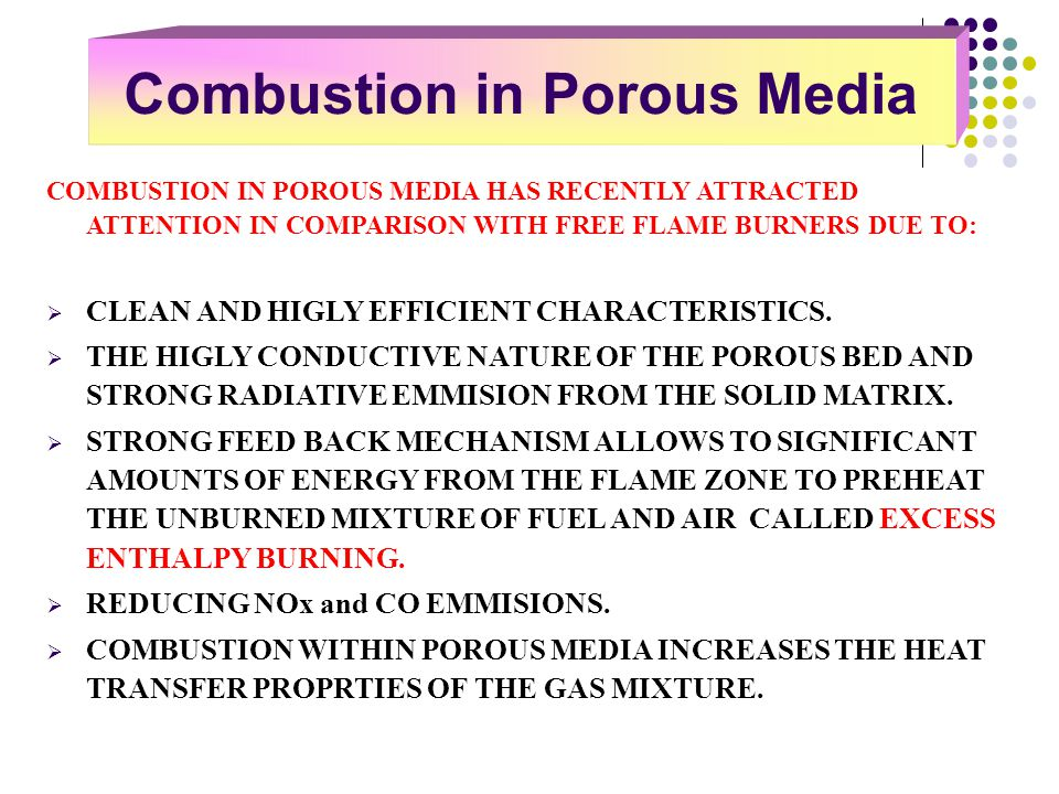 Combustion in Porous Media
