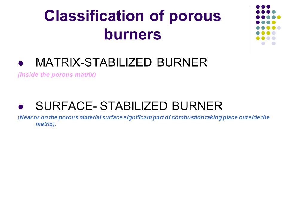 Classification of porous burners