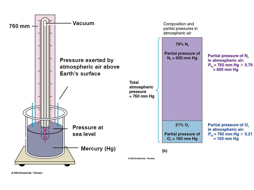 Vacuum 760 mm. Pressure exerted by. atmospheric air above. Earth's surface. Pressure at. sea level.