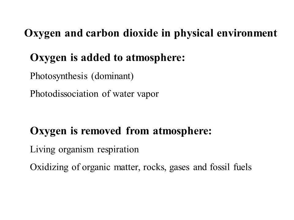 Oxygen and carbon dioxide in physical environment