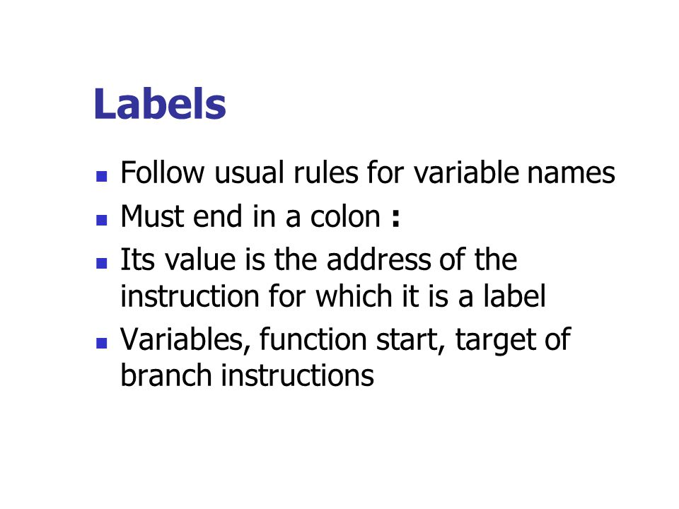 Labels Follow usual rules for variable names Must end in a colon :