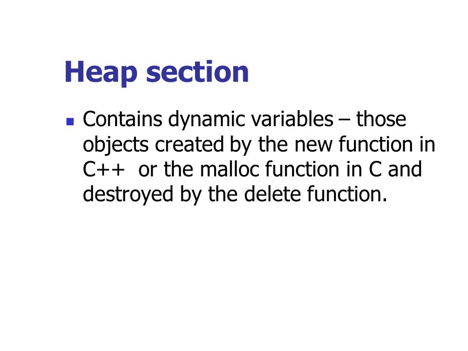 Heap section