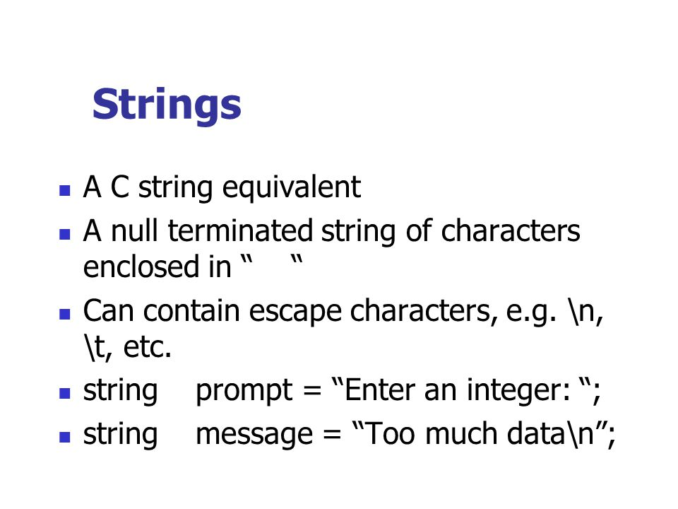 Strings A C string equivalent