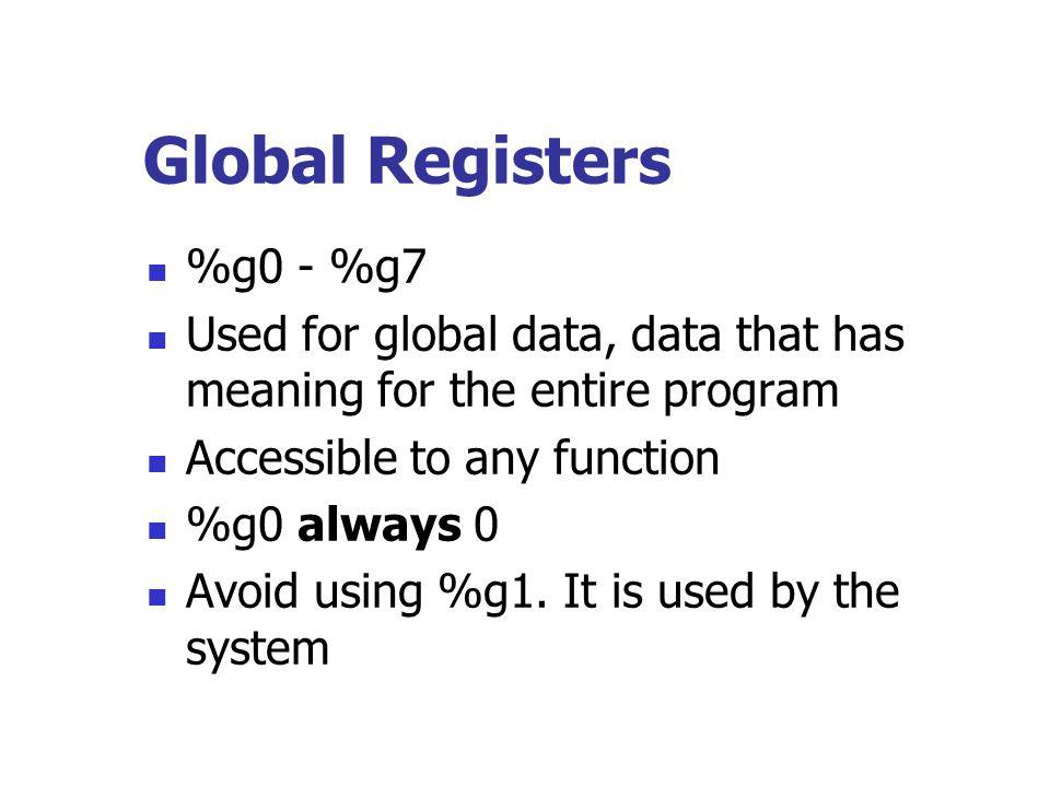 Global Registers %g0 - %g7