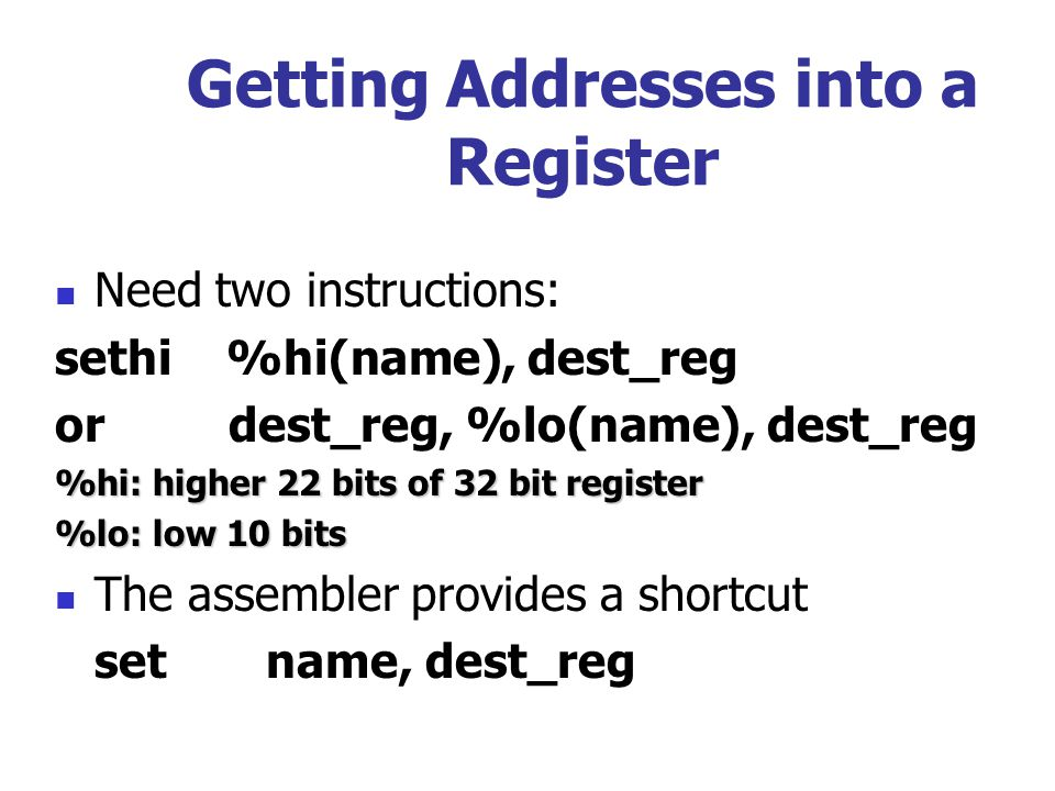 Getting Addresses into a Register