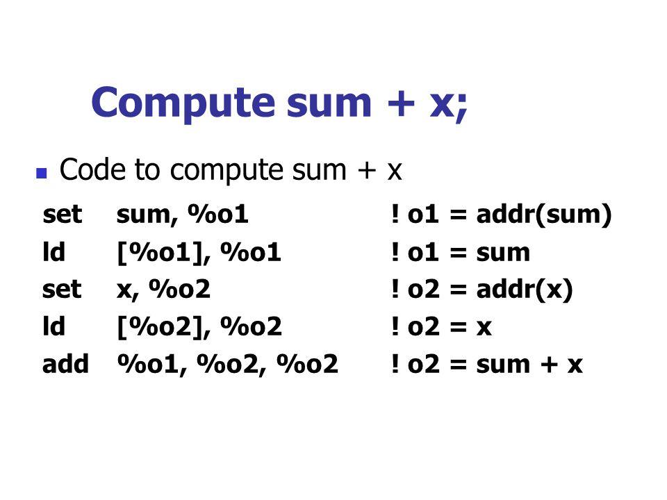 Compute sum + x; Code to compute sum + x set sum, %o1 ! o1 = addr(sum)