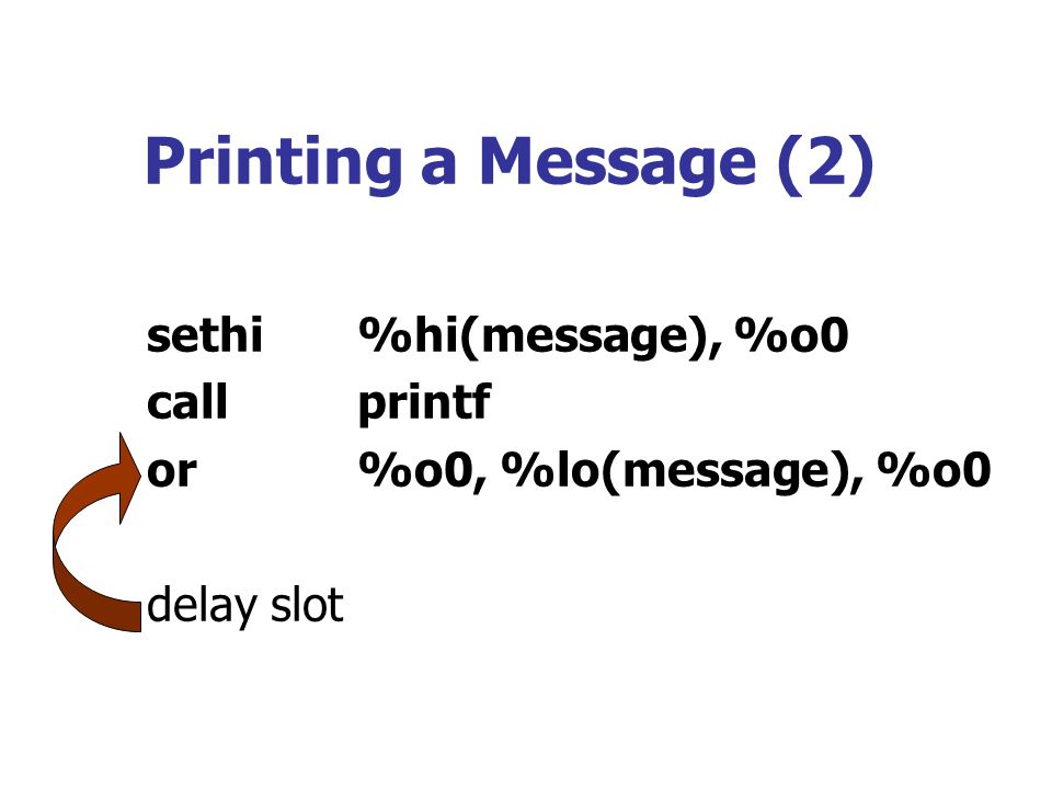 Printing a Message (2) sethi %hi(message), %o0 call printf