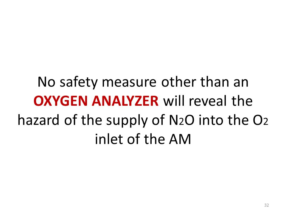No safety measure other than an OXYGEN ANALYZER will reveal the hazard of the supply of N2O into the O2 inlet of the AM