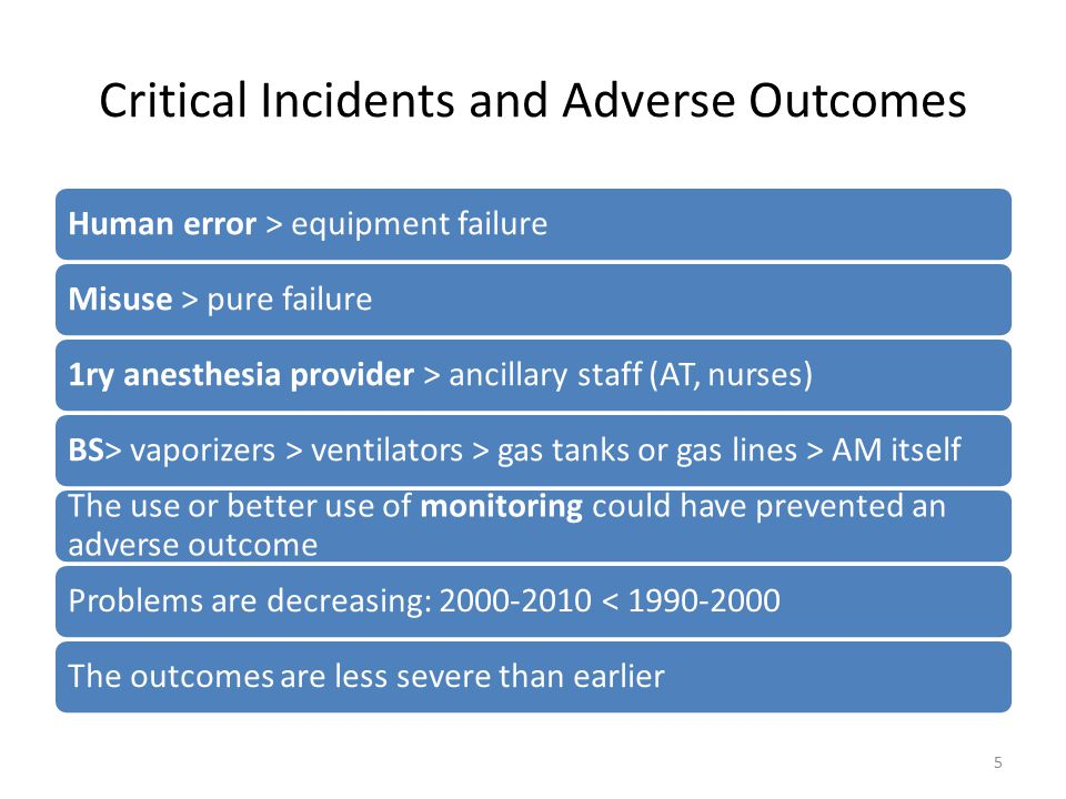 Critical Incidents and Adverse Outcomes