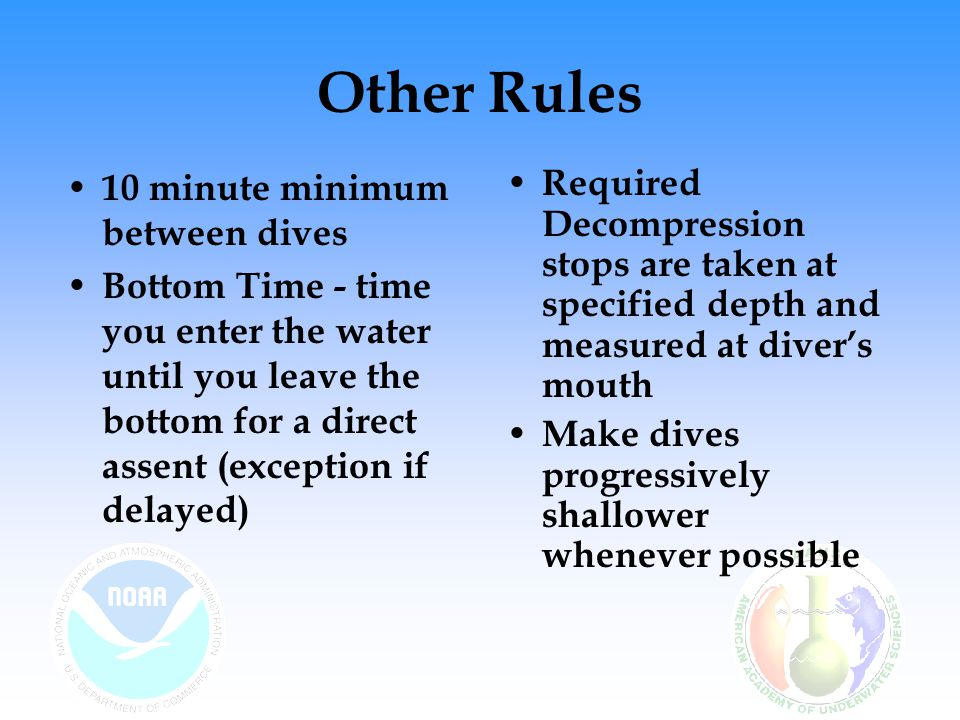 Other Rules 10 minute minimum between dives