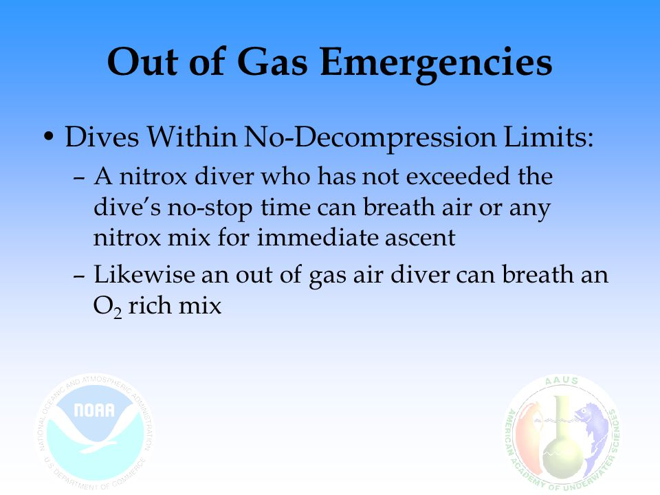 Out of Gas Emergencies Dives Within No-Decompression Limits: