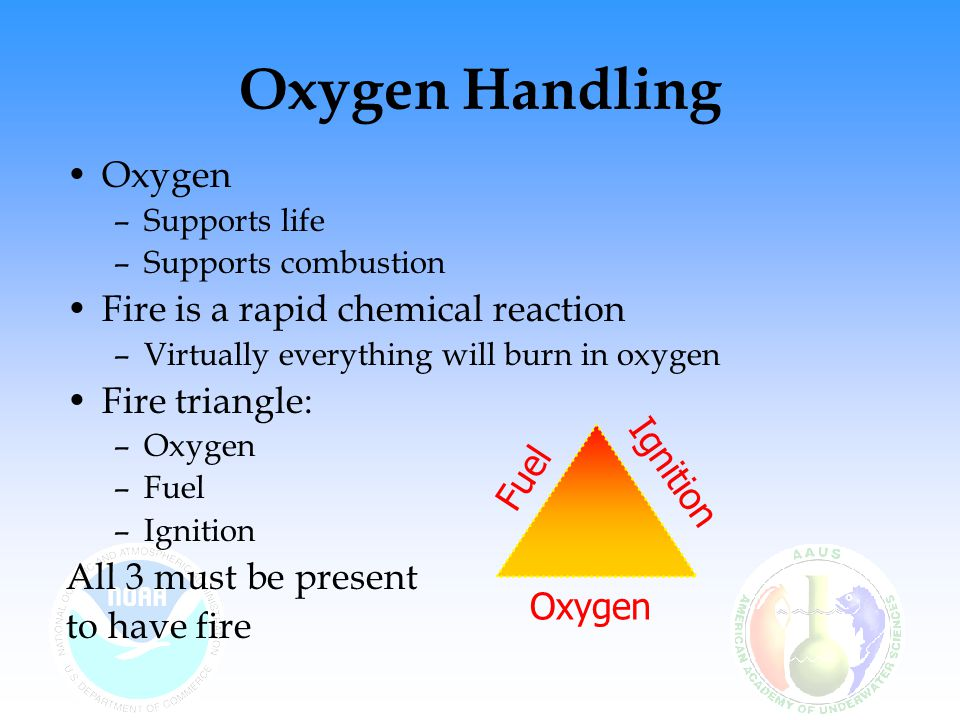 Oxygen Handling Oxygen Fire is a rapid chemical reaction