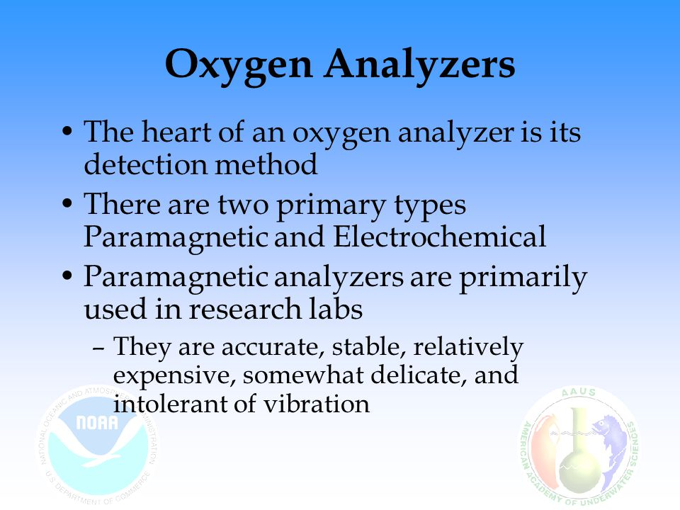 Oxygen Analyzers The heart of an oxygen analyzer is its detection method. There are two primary types Paramagnetic and Electrochemical.