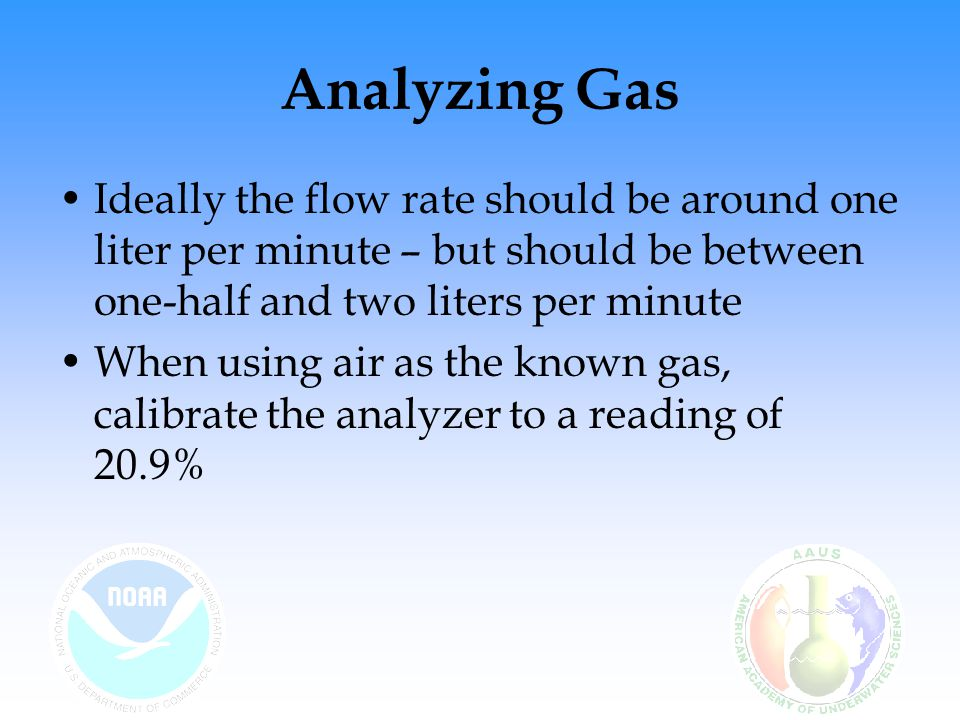 Analyzing Gas Ideally the flow rate should be around one liter per minute – but should be between one-half and two liters per minute.