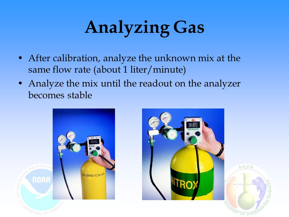 Analyzing Gas After calibration, analyze the unknown mix at the same flow rate (about 1 liter/minute)