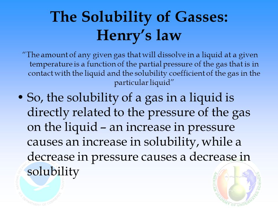 The Solubility of Gasses: Henry's law