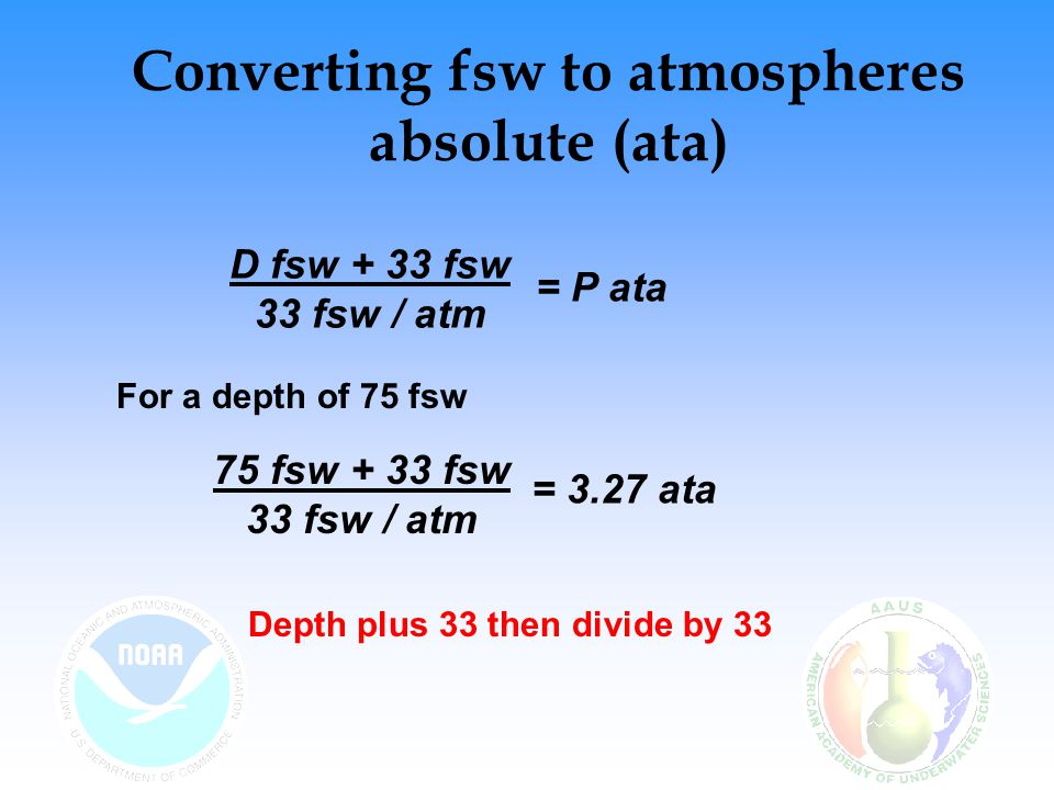 Converting fsw to atmospheres absolute (ata)