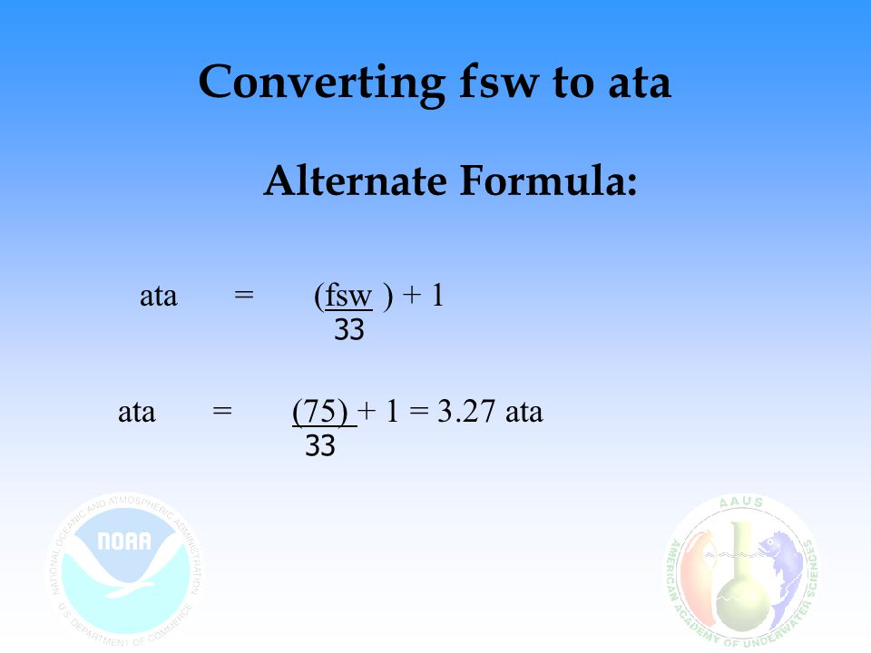 Converting fsw to ata Alternate Formula: ata = (fsw ) + 1