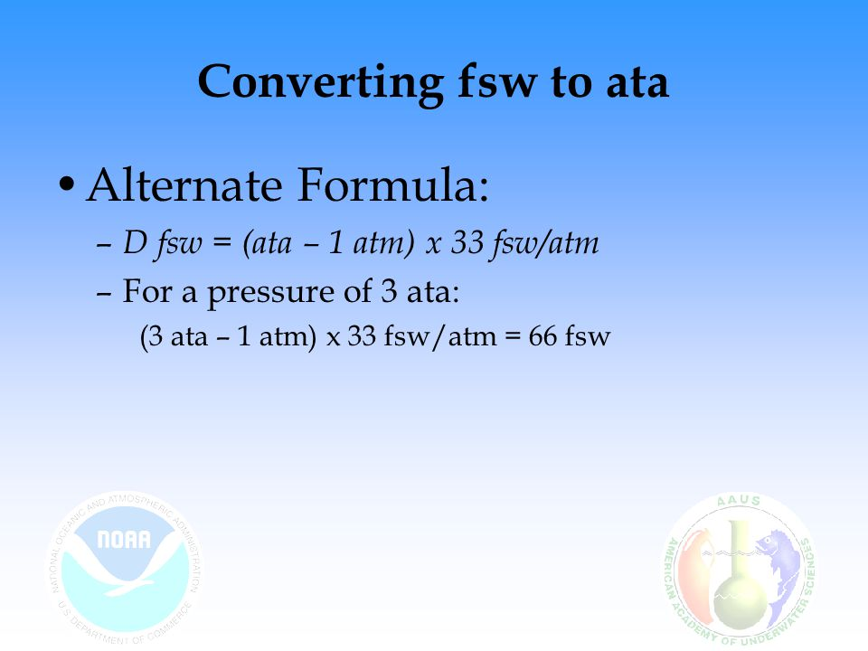 Converting fsw to ata Alternate Formula: