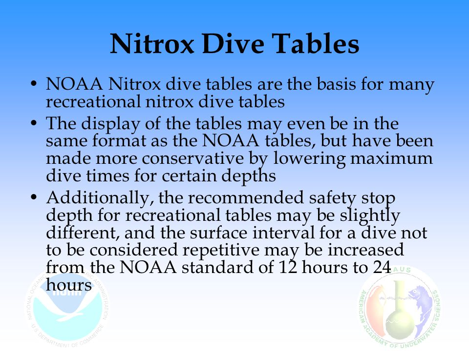 Nitrox Dive Tables NOAA Nitrox dive tables are the basis for many recreational nitrox dive tables.