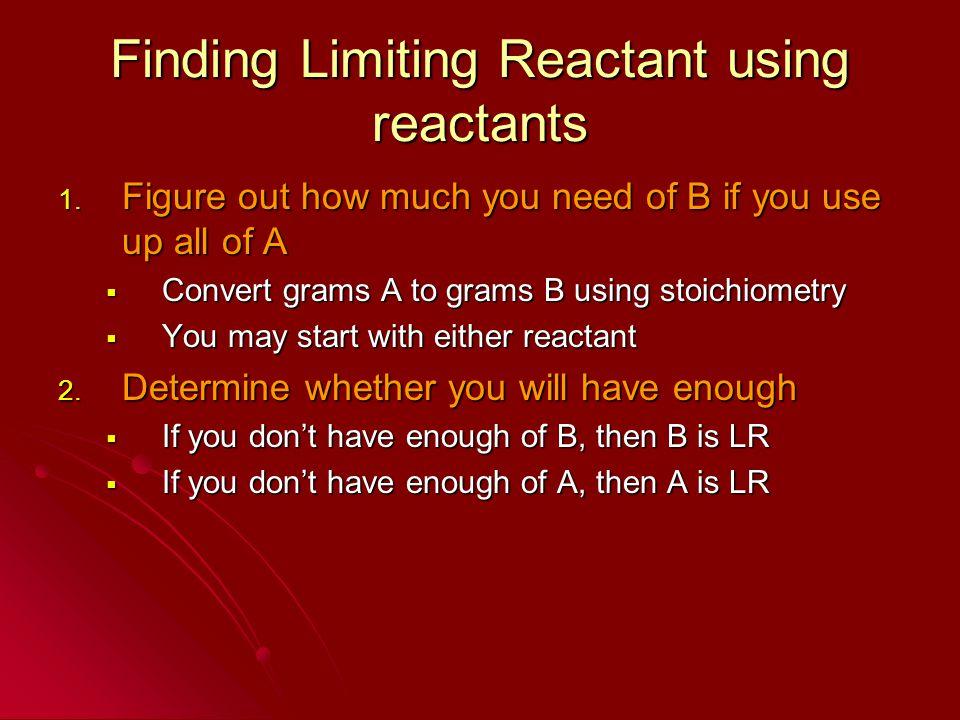 Finding Limiting Reactant using reactants