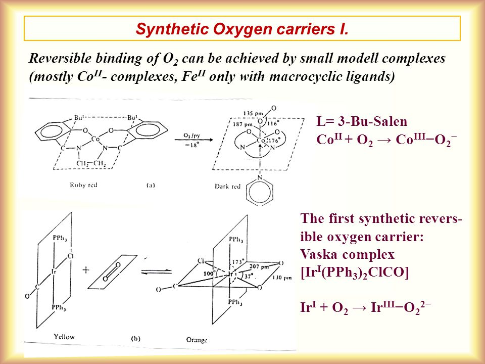 Synthetic Oxygen carriers I.