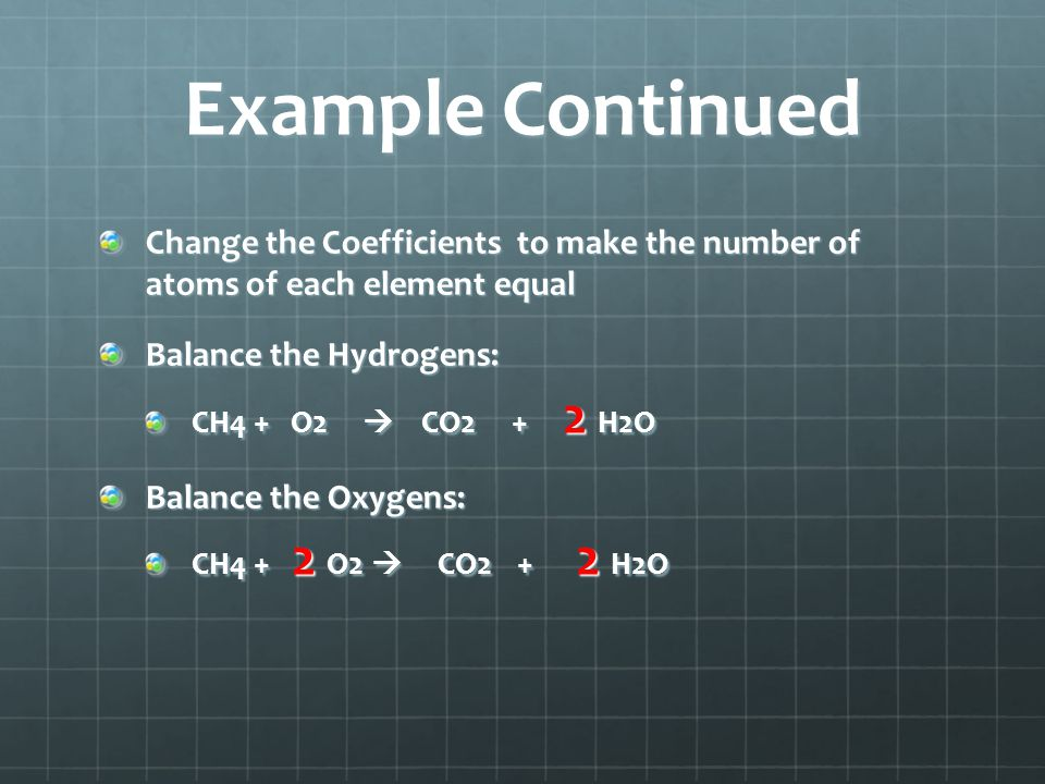 Example Continued Change the Coefficients to make the number of atoms of each element equal. Balance the Hydrogens: