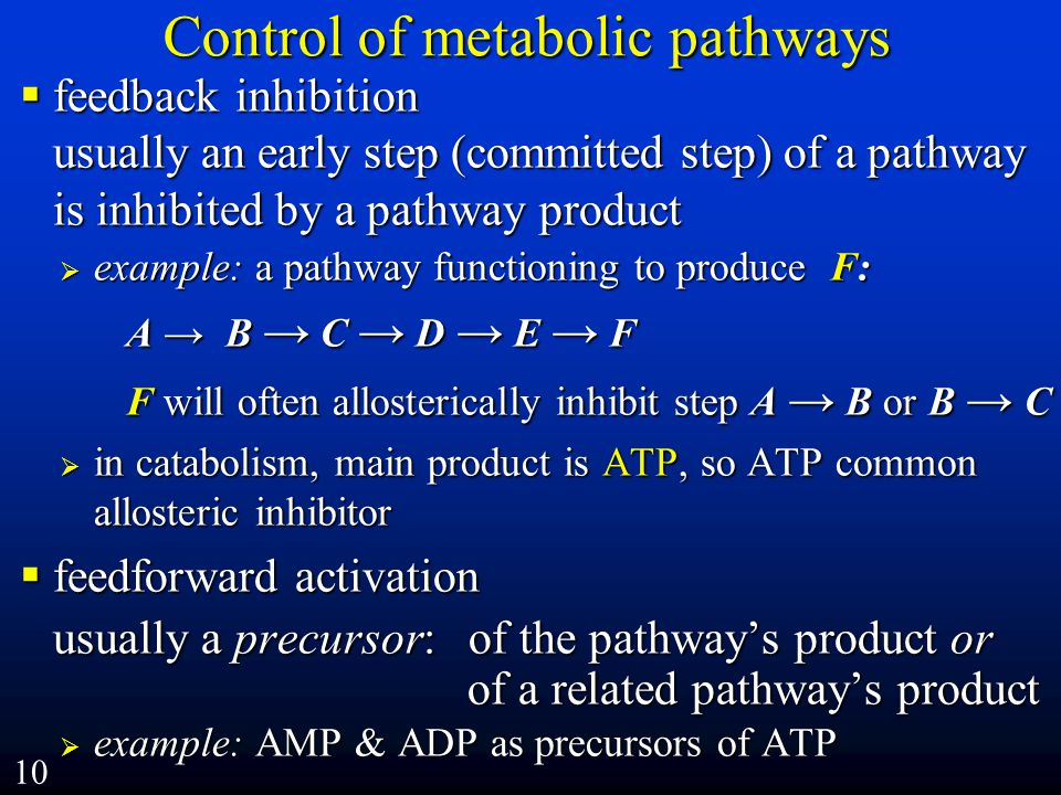 Control of metabolic pathways