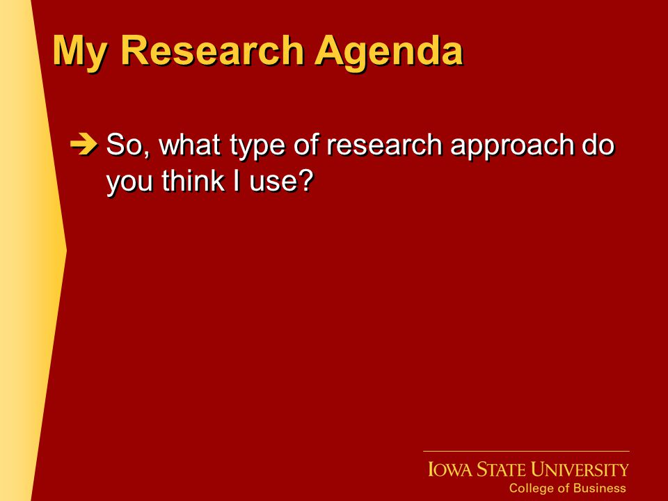 My Research Agenda So, what type of research approach do you think I use