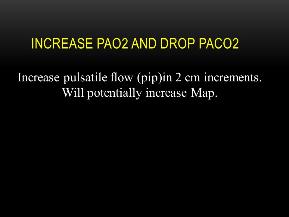 Increase PaO2 AND drop PaCO2