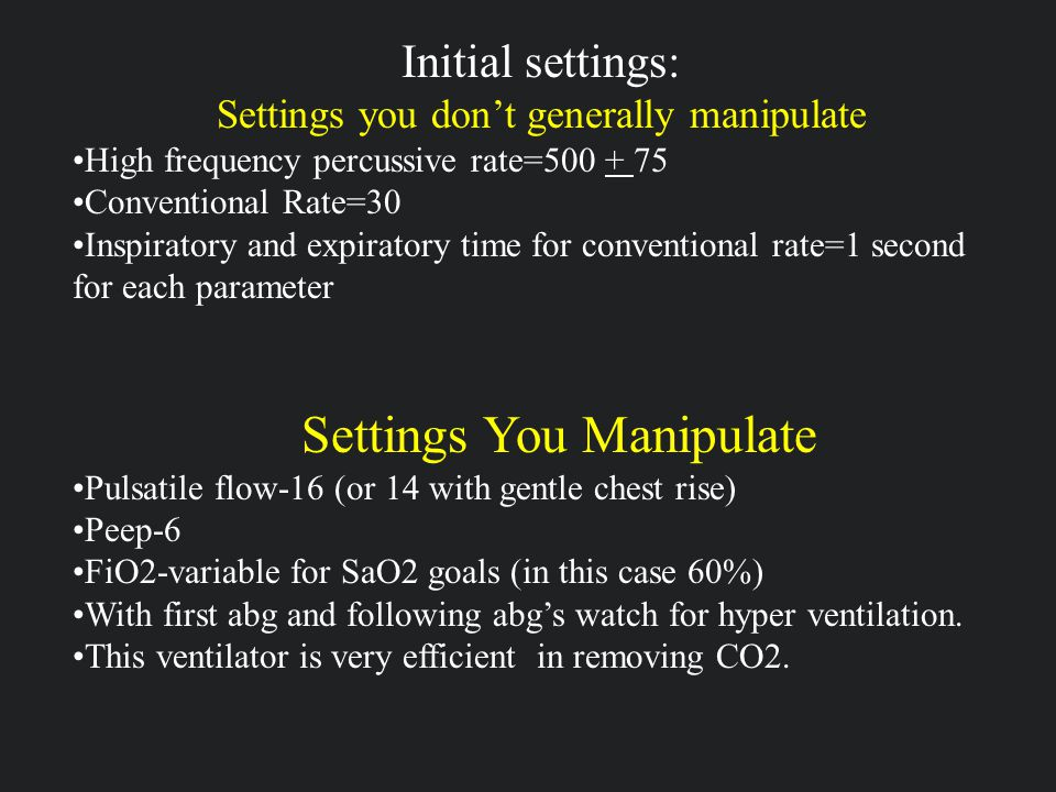 Settings You Manipulate