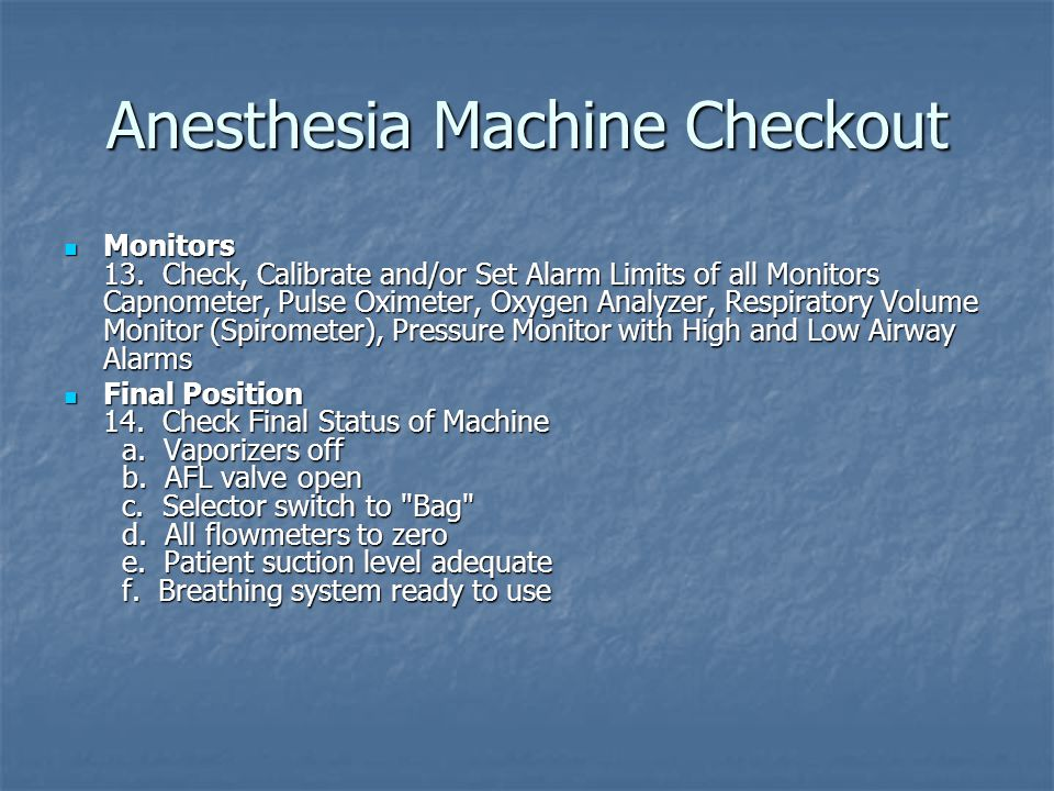 Anesthesia Machine Checkout