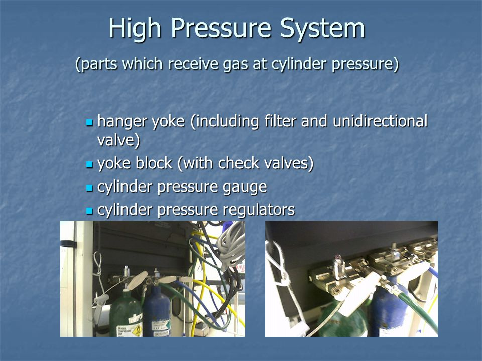 High Pressure System (parts which receive gas at cylinder pressure)