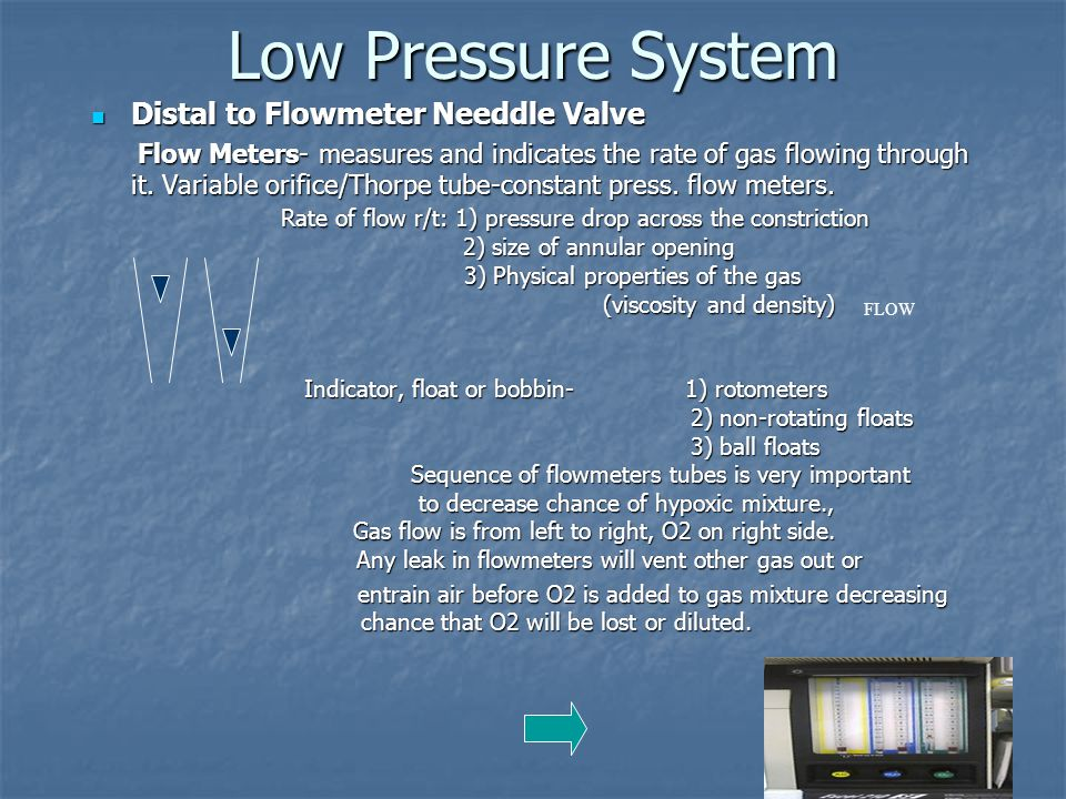 Low Pressure System Distal to Flowmeter Needdle Valve