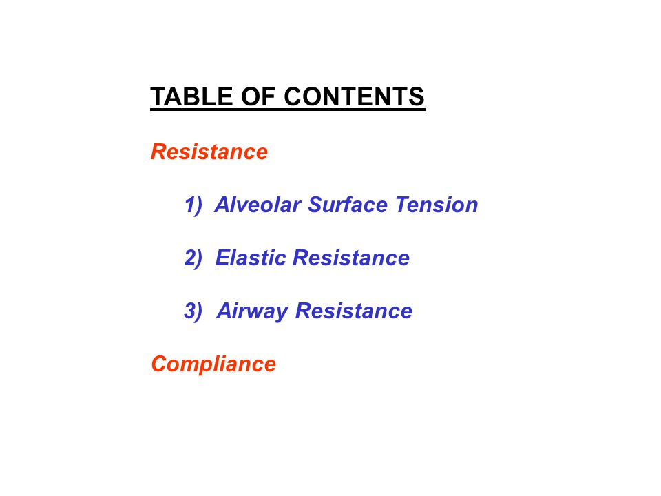 TABLE OF CONTENTS Resistance 1) Alveolar Surface Tension